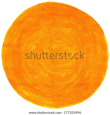 Orange blank watercolor round shape on white background. Graphic image circle form isolated of square format. Colored aquarelle template backdrop created in handmade technique - stock photo