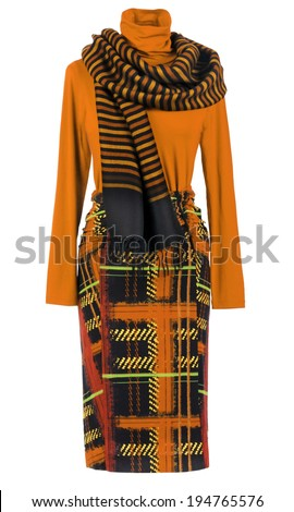 orange blouse and skirt - stock photo