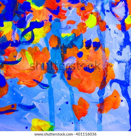 orange blue abstract painting for  interior, background, illustration - stock photo
