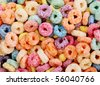 orange, blue, green and purple cereal fruits - stock photo