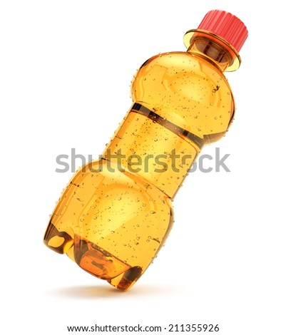 Orange bottle with drink isolated on white background. 3d rendering image - stock photo