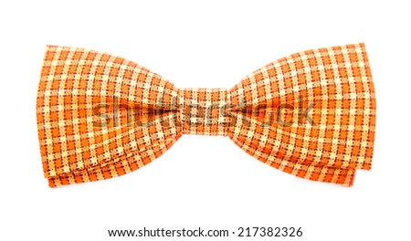 orange bow tie with white stripes on an isolated white background