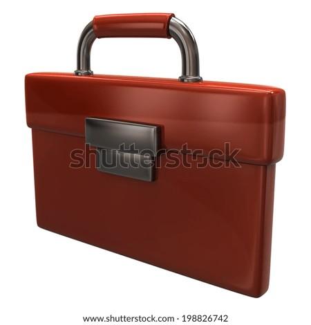 Orange briefcase icon - stock photo