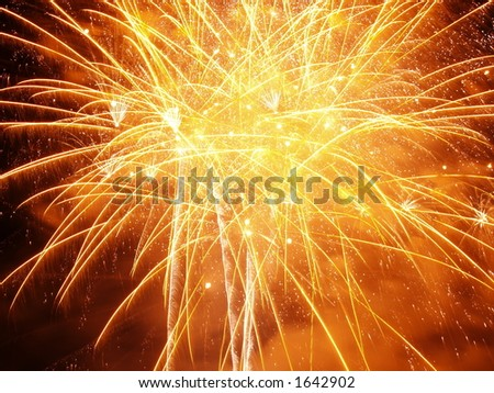 Orange Burst..Firework Display Nottingham Riverside Festival - stock photo