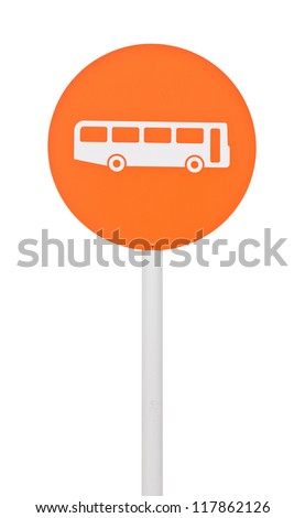 orange bus stop sign on post pole (isolated on white background) - stock photo