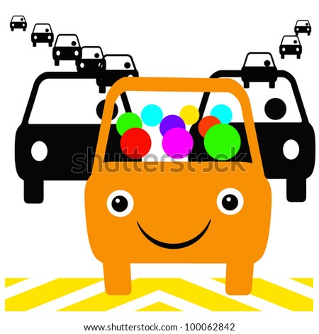 orange bus with passengers in traffic carpool illustration - stock photo