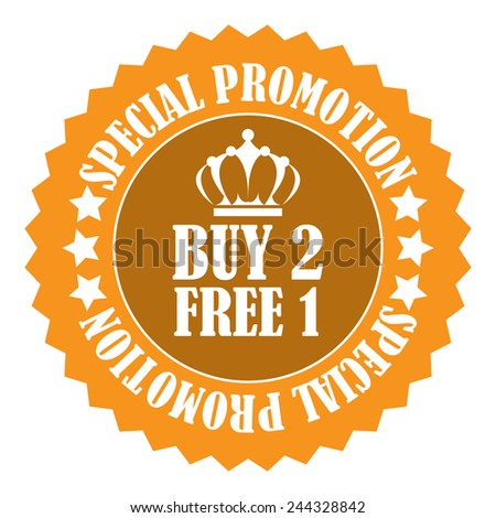 orange buy 2 free 1 special promotion promotional sale icon, tag, label, badge, sign, sticker isolated on white  - stock photo