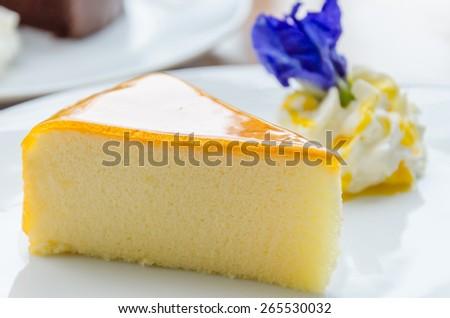 Orange Cake on the Plate - stock photo
