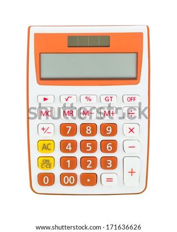 Orange calculator isolated on a white background - stock photo