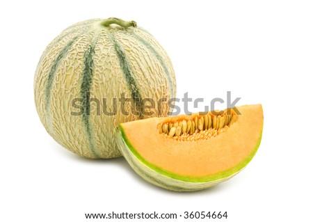 orange cantaloupe melon on white background - stock photo