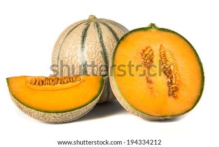orange cantaloupe melons on white background - stock photo