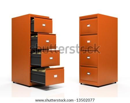 Orange card files isolated on white background - stock photo
