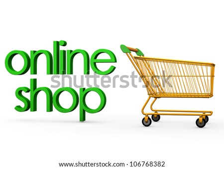 """Orange carry with the green text """"online shop"""". - stock photo"""