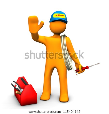 Orange cartoon character as electrician with toolbox and cable. White background. - stock photo