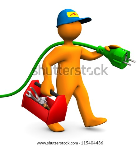 Orange cartoon character as electrician with toolbox and connector. White background. - stock photo