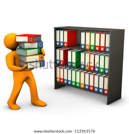 Orange cartoon character assorts folders in the cabinet. White background. - stock photo