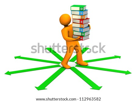 Orange cartoon character distributes folders on the white background with the green arrows. - stock photo