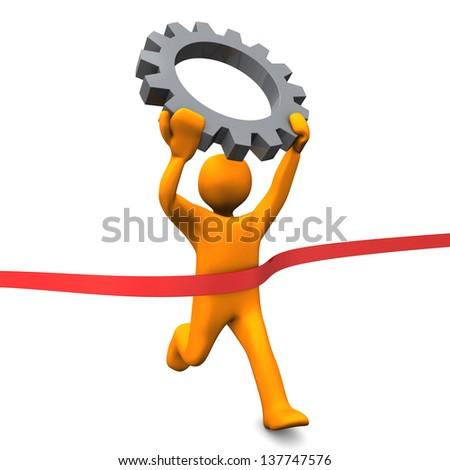 Orange cartoon character run with big gear. White background. - stock photo