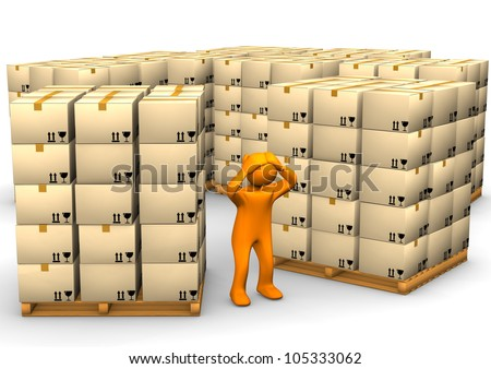 Orange cartoon character with a pallets on the white background. - stock photo