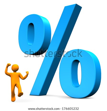 Orange cartoon character with big percent on the white background. - stock photo