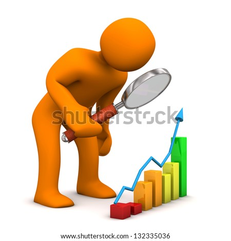 Orange cartoon character with colorful chart. White background. - stock photo