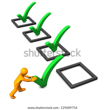 Orange cartoon character with 3d checklist. White background. - stock photo