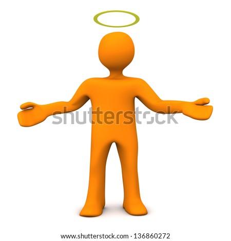 Orange cartoon character with gloriole. White background. - stock photo