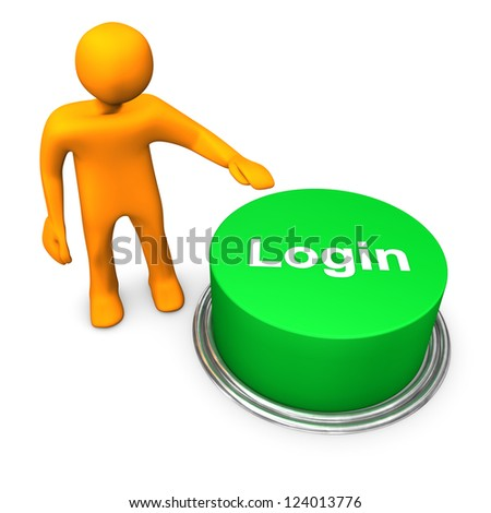 "Orange cartoon character with green button ""login"". - stock photo"