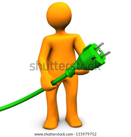 Orange cartoon character with green connector. White background. - stock photo