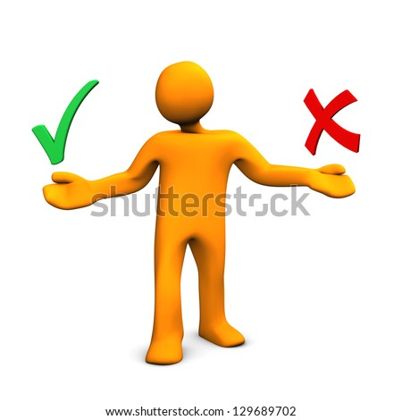 Orange cartoon character with green tick and red x. - stock photo