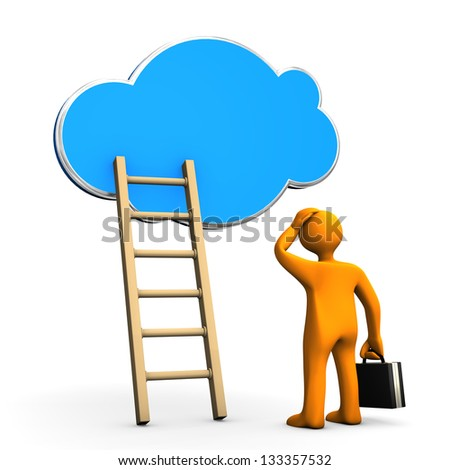 Orange cartoon character with ladder and cloud on the white background. - stock photo