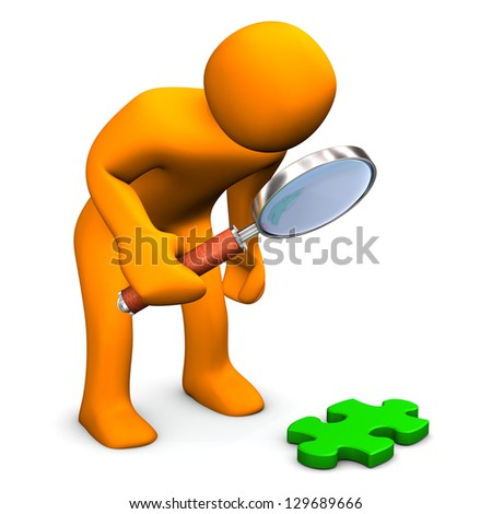 Orange cartoon character with loupe and green puzzle. - stock photo