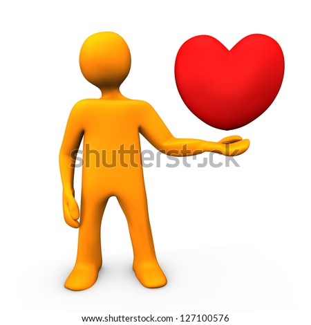 Orange cartoon character with red heart in the hand. - stock photo