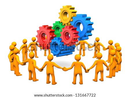 Orange cartoon characters in a circle with gears. White background. - stock photo
