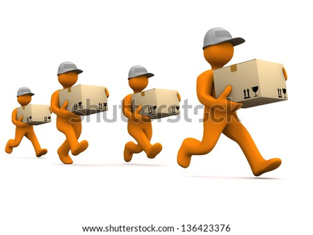 Orange cartoon characters runs with big parcels. White background. - stock photo