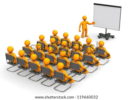 Orange cartoon characters sit in on a lecture. - stock photo