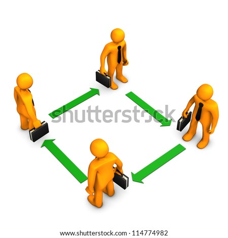 Orange cartoon characters with black cases and green arrows. White background. - stock photo