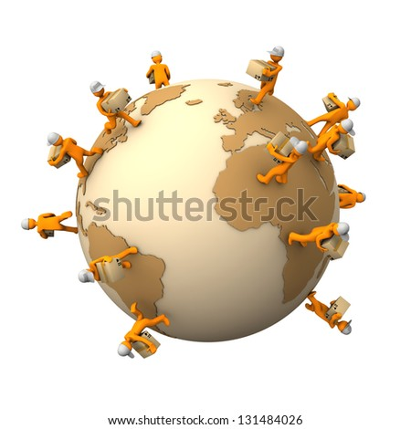 Orange cartoon characters with parcels on the big globe. - stock photo