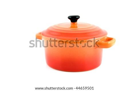 Orange casserole isolated on white background - stock photo