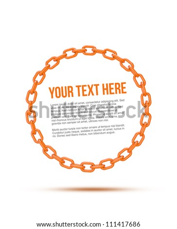 orange chain circle with space for copy or text - stock photo