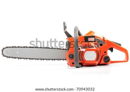 Orange chain saw on a white background. - stock photo