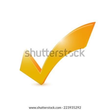 orange check mark illustration design over a white background - stock photo