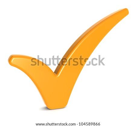 Orange Check Mark on Whitee background. - stock photo