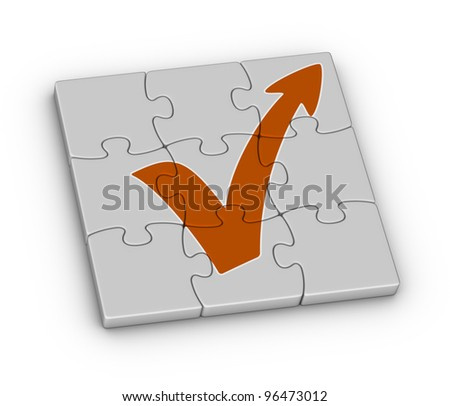 orange check mark with arrow on jigsaw puzzle - stock photo