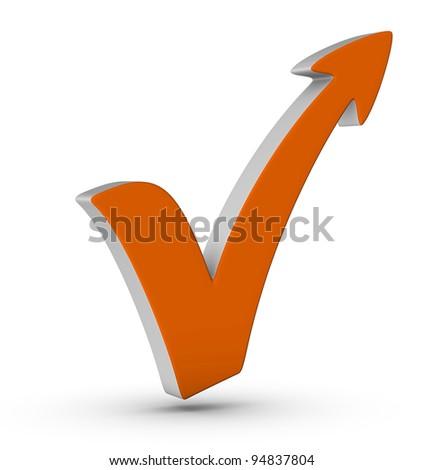 orange check mark with arrow on white background - stock photo