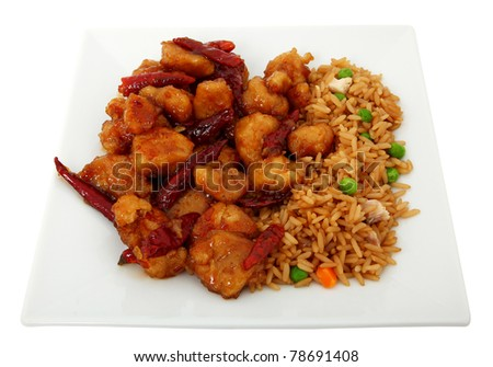Orange Chicken And Fried Rice Isolated On White Plate