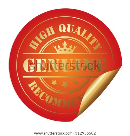 Orange Circle Genuine High Quality Recommended Infographics Peeling Sticker, Label, Icon, Sign or Badge Isolated on White Background - stock photo