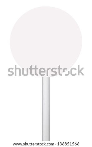 orange circular sign on post pole (isolated on white background, ready for your design) - stock photo