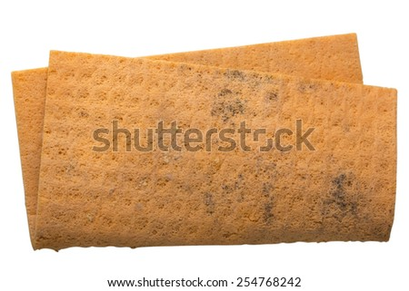 Orange cleaning rag isolated on white with clipping path - stock photo