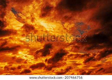 Orange clouds background , sunset sky